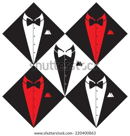 Tuxedo suit silhouette, hand drawn, vector illustration - stock vector