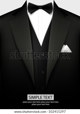 Tuxedo vector background with bow - stock vector