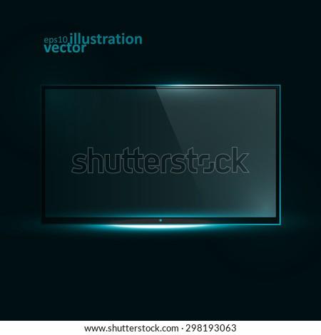 TV Flat Screen Icd. Creative dynamic light element, vector Illustrations eps10. - stock vector