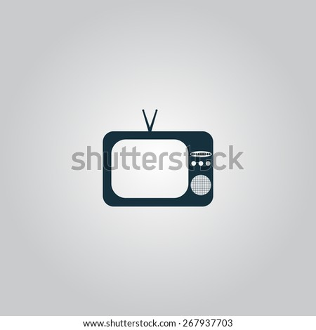 TV. Flat web icon or sign isolated on grey background. Collection modern trend concept design style vector illustration symbol - stock vector