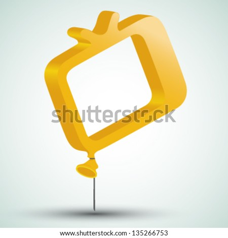 tv icon in form of a balloon - stock vector