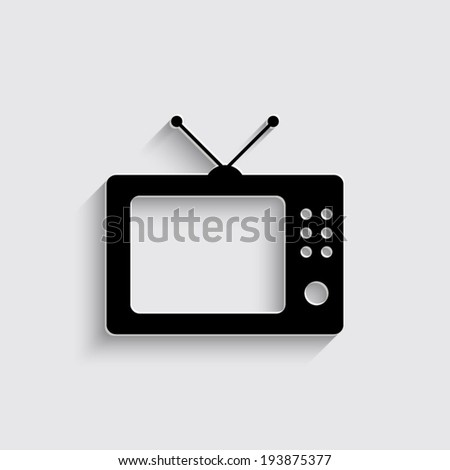 TV icon with shadow on a grey background - stock vector