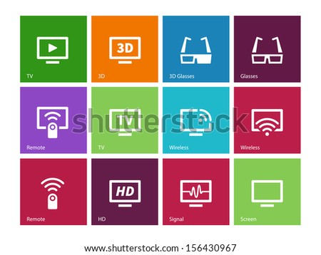 TV icons on color background. Vector illustration. - stock vector