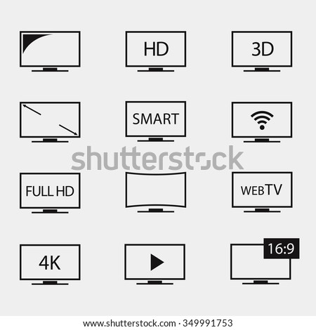 TV icons set. TV screens on a white background. TV icon vector. TV isolated silhouettes. TV vector symbol. TV icon flat. TV icons graphics. Modern TV symbols.  - stock vector