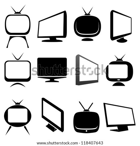 tv icons set vector illustration - stock vector