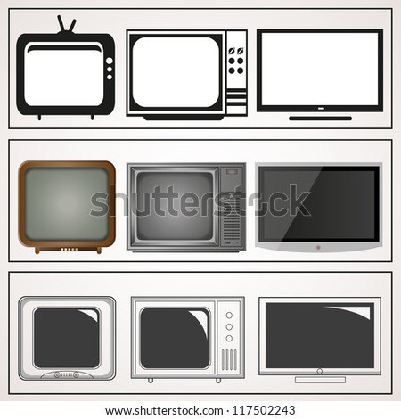 TV Icons, Vector illustration, Isolated. Chronological Television Icon - Set - stock vector