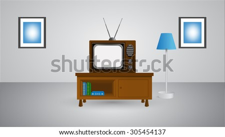 tv in room vector illustration eps 10 - stock vector