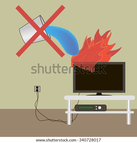 TV lights extinguish with water can not extinguish a fire extinguisher - stock vector