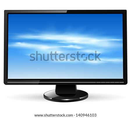 TV monitor with vector clouds on screen - stock vector