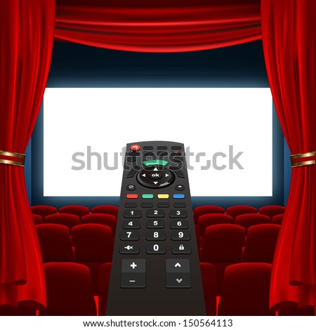 tv remote and cinema screen - stock vector