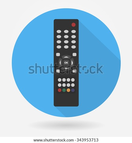 Tv remote control icon with long shadow. Flat style - stock vector