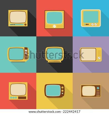 TV Retro icon, Flat design vector,Eps 10 - stock vector