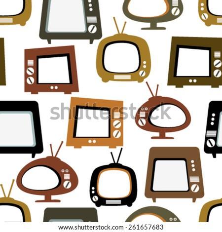 tv retro seamless pattern on white - stock vector