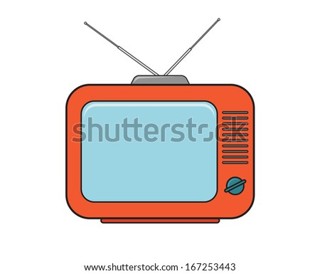 TV set drawing in color 2 - stock vector