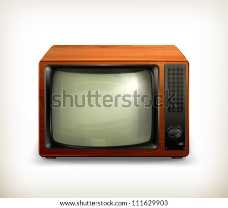 TV set retro, vector - stock vector