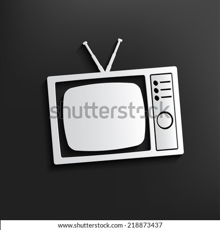 TV symbol on dark background,clean vector - stock vector