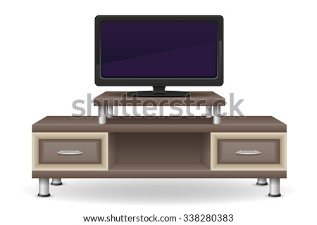 tv table furniture vector illustration isolated on white background - stock vector