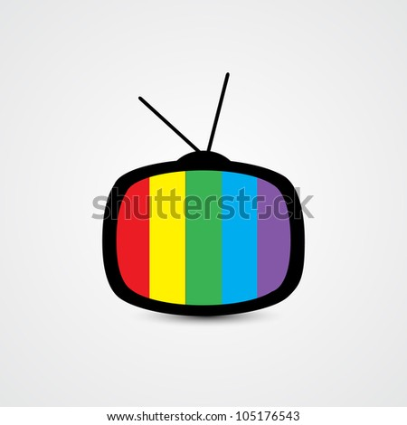 TV with Colorful Screen - stock vector