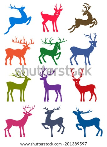 Twelve colored deer set silhouettes isolated on white background - stock vector