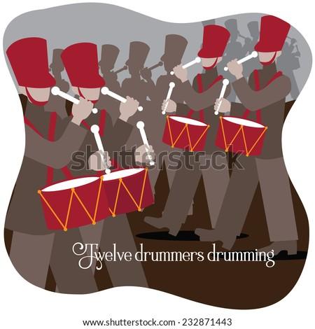 Twelve drummers drumming Twelve days of Christmas EPS 10 vector illustration - stock vector