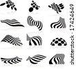 Twelve highly distorted design elements. - stock vector