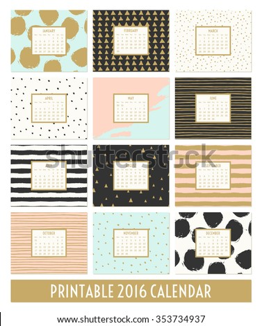 Twelve month 2016 calendar template. Hand drawn patterns in black, gold, pastel blue, pink and cream. - stock vector