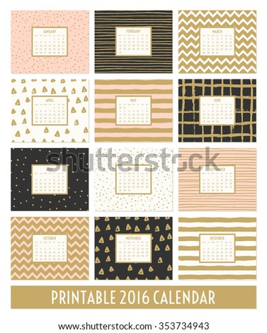 Twelve month 2016 calendar template. Hand drawn patterns in black, gold, pastel pink and cream. - stock vector