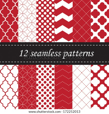 Twelve seamless geometric patterns with quatrefoil, chevron and polka dot designs, in red - stock vector
