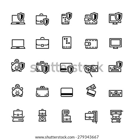 twenty five black outline finances icons isolated on white - stock vector