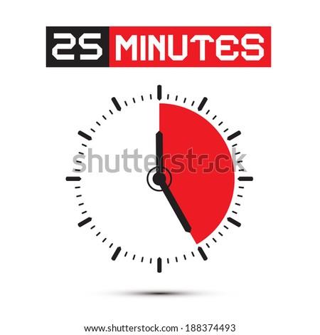 Twenty Five Minutes Stop Watch - Clock Vector Illustration - stock vector