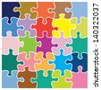 Twenty five piece jigsaw puzzle in different colors. These individual pieces can be moved and colored so suit your own artwork. - stock vector