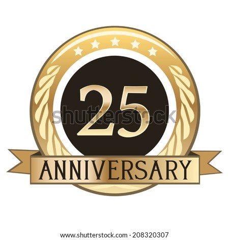 Twenty Five Year Anniversary Seal - stock vector