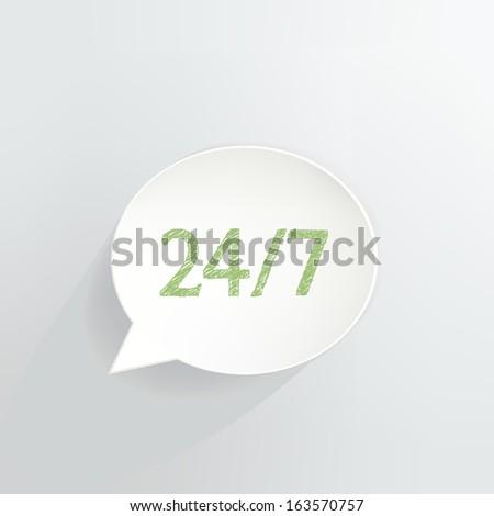 Twenty-Four Seven Speech Bubble - stock vector