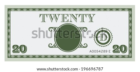 Twenty money bill image. With space to add your text, information and image.  - stock vector