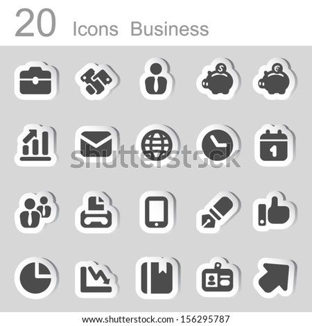 twenty sticker business icons, color black and shade - stock vector