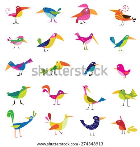 twenty vector bird on a white background - stock vector