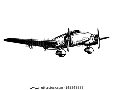 Twin engine passenger plane. Vintage style vector illustration. - stock vector