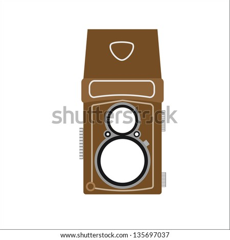 Twin lens a retro camera - stock vector