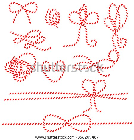 Twine rope bows and gift ties. Red and white string pattern brush, saved in brush panel. Diy twine bows. - stock vector