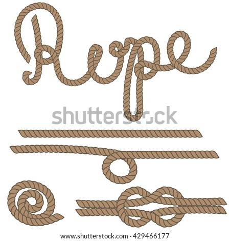 Twine rope brush, rope knot. Brown string pattern brush, saved in brush panel. Diy twine bows. - stock vector