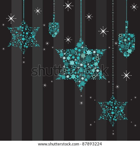Twinkling Stars of David Hanukkah Card with hanging dreidels - stock vector