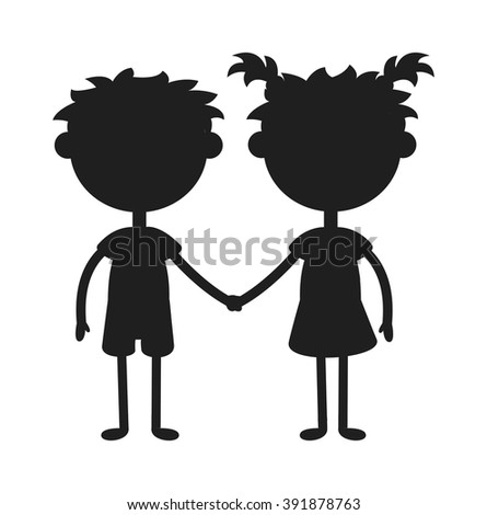Twins kids holding hands black silhouette and cute twins kids together. Twins happy kids silhouette holding hands boy and girl vector illustration.  - stock vector