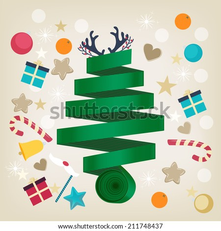 Twirled green ribbon Christmas tree card design topped with reindeer antlers and surrounded by Xmas icons of candy, gifts, oranges, hearts, stars, snowflakes and a bell in square format - stock vector