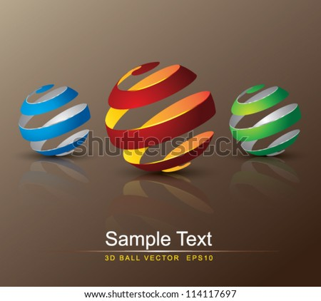 twist 3d ball, can use for object printing, object isolated. - stock vector