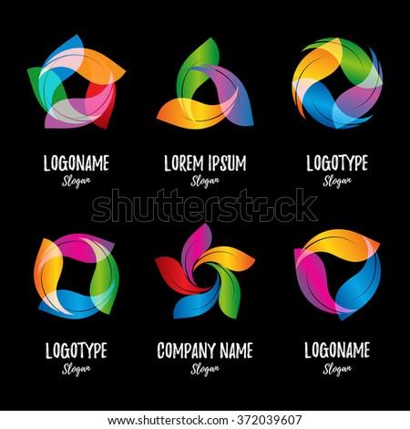 Twist logo. Colorful nature logo. Isolated vector logo. Abstract logo. Collection logos. Shiny logotype. Leaf logo. Colorful eco logo. Forest logo. Leafs icon. Organic logo. - stock vector