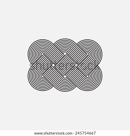 Twisted lines, vector element, intertwined pattern, isolated object, line design - stock vector