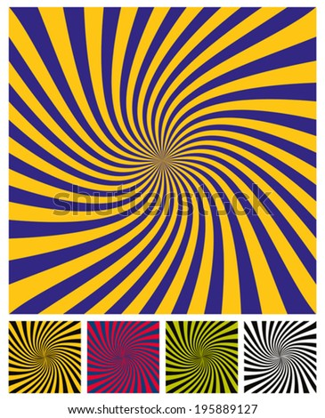 Twisted rays vector simplistic background, color versions set. - stock vector