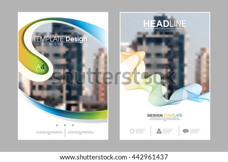 Two A4 size, abstract bent waving shape and strings elements marketing business corporate design template. eps10 vector - stock vector