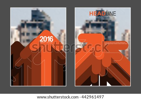 Two A4 size, abstract overlapping arrows elements marketing business corporate design template. eps10 vector - stock vector