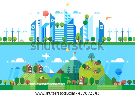 Two abstract backgrounds. Modern city. Pure nature. - stock vector